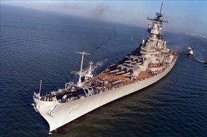 USS WISCONSIN BB 64 Underway During Sea Trials Photograph 8X12