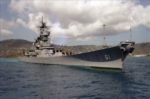 USS IOWA BB 61 off St. Thomas Photograph 8X12