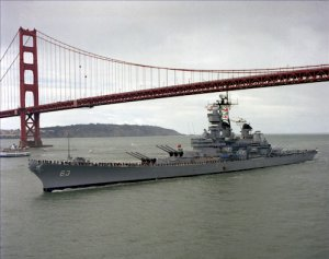 USS MISSOURI BB 63 Golden Gate Bridge Photograph 8X10