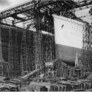 Black and White Photo 8X10 Olympic Titanic Harland and Wolff Shipyard