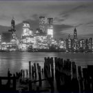 Black and White Photo 8X10 Manhattan Skyline from Brooklyn with Twin Towers