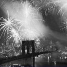 Black and White Photo 8X10 Fireworks over the Brooklyn Bridge