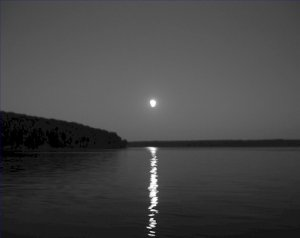 Black and White Photo 8X10 Apostle Islands Moon over the islands