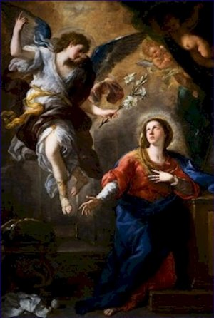 The Annunciation Luca Giordano Poster 20X30 Art Print