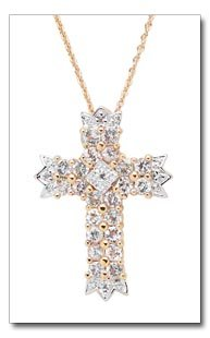 White Topaz And Diamond Cross Pendant