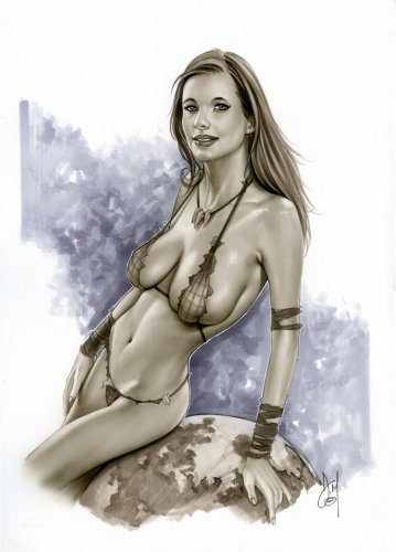 VALENTINA - JUNGLE GIRL BW#708- Original Pinup Girl Art by Alex Miranda