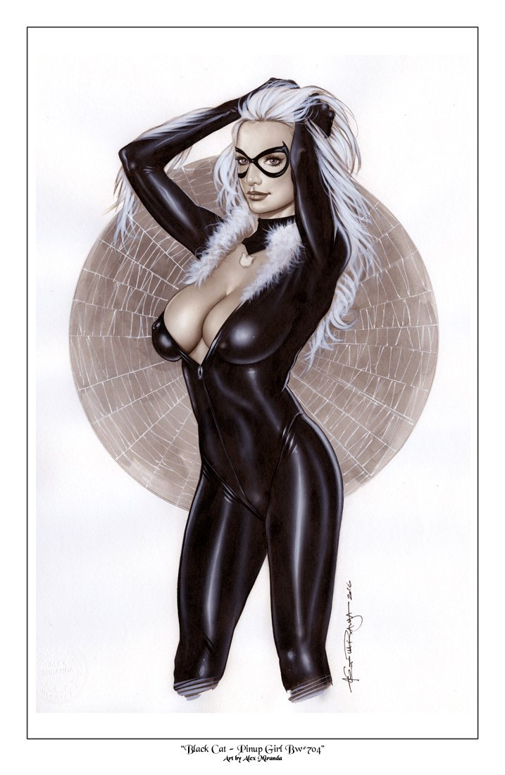 Alex Miranda -Black Cat Bw#704 - Sexy Pinup Girl Print