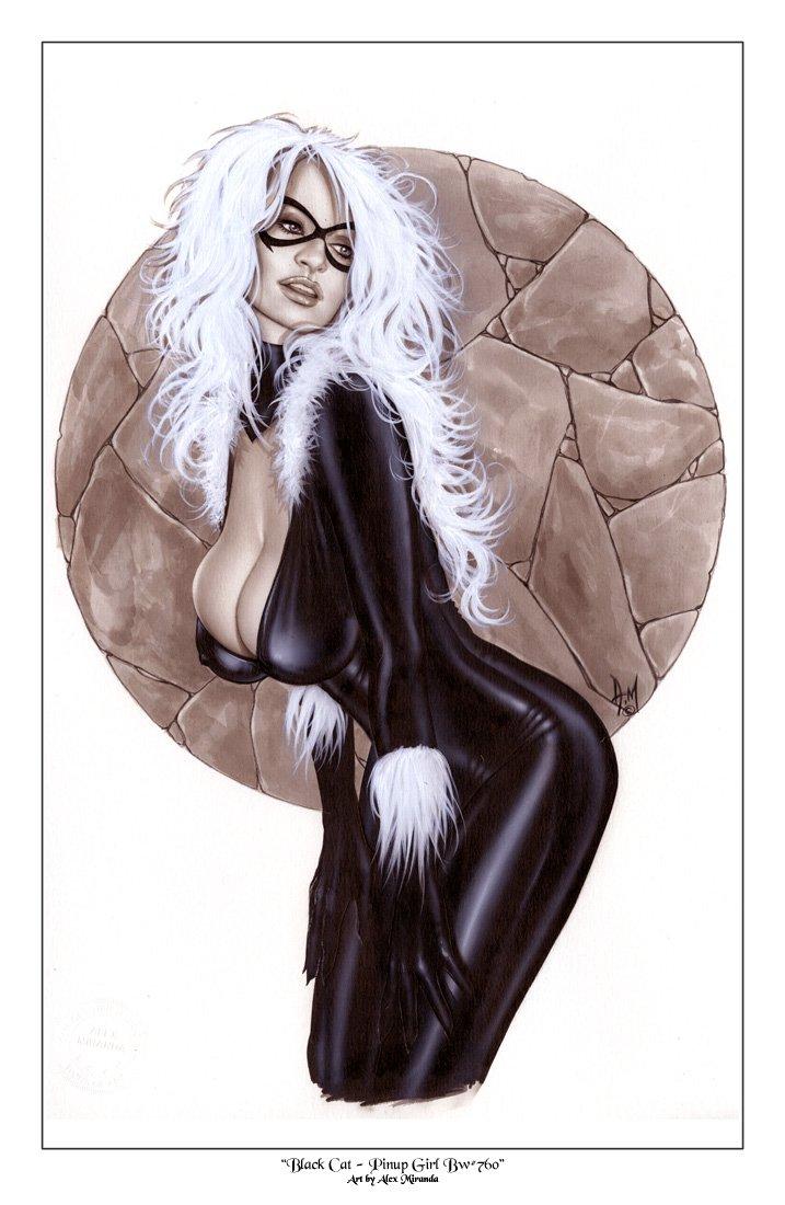 Alex Miranda -Black Cat Bw#710 - Sexy Pinup Girl Print
