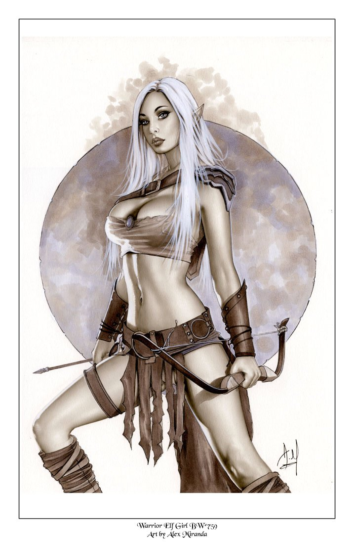 Alex Miranda - Warrior Elf Girl Bw#759 - Fantasy Pinup Girl Print