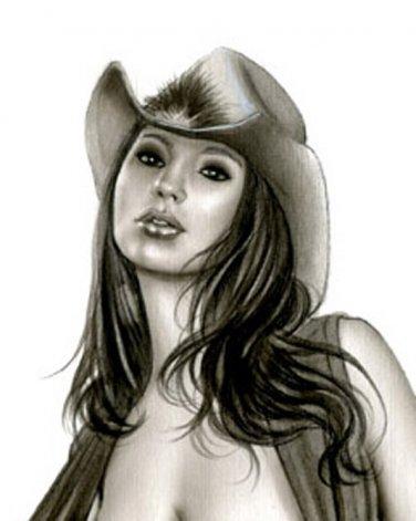 SHAY LAREN COWGIRL - ORIGINAL PINUP GIRL ART by ALEX MIRANDA