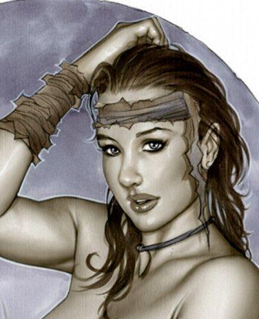 HOT CAVEWOMAN BW#938 SEXY FANTASY CAVEGIRL ORIGINAL PINUP GIRL