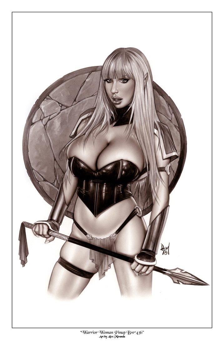Warrior Blonde Elf Girl Bw#436 - Fantasy Pinup Girl Print
