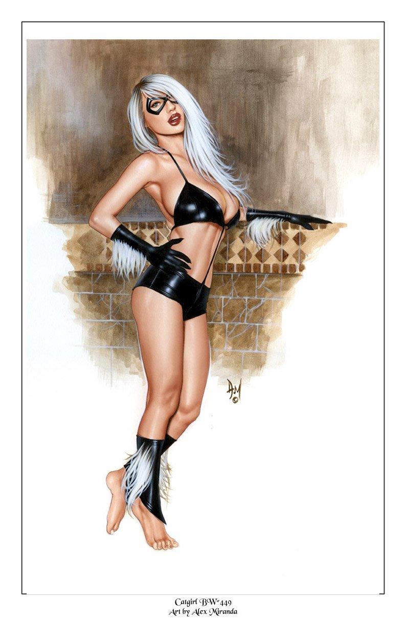 Black Cat Bw#449 - Felicia Hardy Fantasy Pinup Girl Print