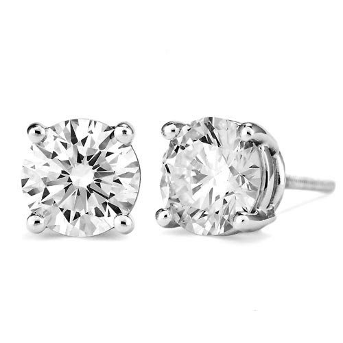 2 Carat Briolite Stud Earrings 14k White Gold