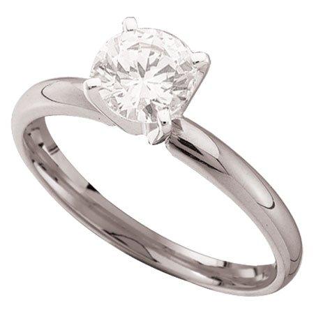 1 Carat Briolite Simulated Diamond Solitaire Ring 14k White Gold