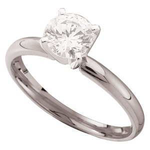 1 Carat Briolite Simulated Diamond Solitaire Ring 14k White Gold
