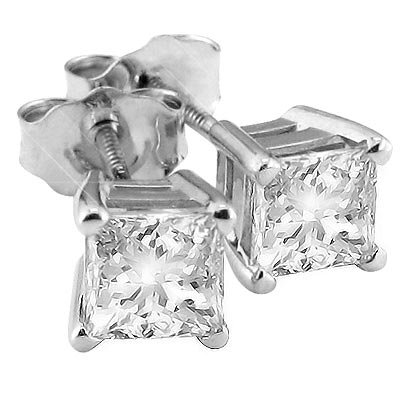 Briolite Princess Cut Stud Earrings