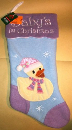 "Christmas Stocking Baby's First Christmas 18"" Duck Chick NWT Prima Purple Blue"