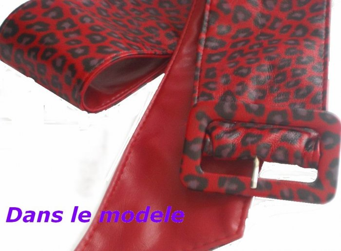 Red Leather leopard belt