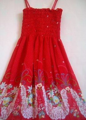 Tropical floral tube Dress RED
