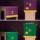 SET OF 3 PARAMENTS~PURPLE/ GREEN PULPIT SCARF,TABLE RUNNER,BOOKMARK~Stole/Clergy