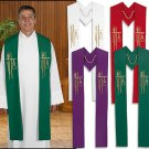 SET OF FOUR CLERGY ALPHA OMEGA STOLES, PURPLE, GREEN, WHITE, RED~PASTOR~VESTMENT