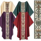 TAPESTRY CHASUBLE~ORPHREY DESIGN~CATHOLIC PRIEST~PASTOR~VESTMENT~CLERGY~4 COLORS