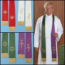 SET OF 2 JACQUARD REVERSIBLE CLERGY STOLES~PASTOR~VESTMENT`PURPLE/GREEN/RED/WHT