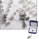 MOTHER OF PEARL FIRST COMMUNION ROSARY & WRAP ROSARY BRACELET W/MIRACULOUS MEDAL