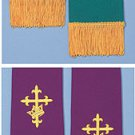 REVERSIBLE STOLE PURPLE/GREEN EMBROIDERED~PASTOR~CLERGY~CATHOLIC PRIEST~VESTMENT