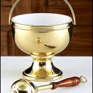GOLD BRASS HOLY WATER POT WITH SPRINKLER SET FOR CHURCH/HOME ALTAR~CATHOLIC