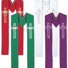 SET OF FOUR SEASONAL CLERGY STOLES, PURPLE, GREEN, WHITE, RED~PENTECOST/EASTER..