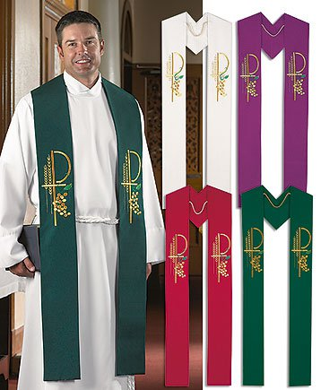 SET OF FOUR CLERGY STOLES~RED,PURPLE,GREEN,WHITE~PASTOR ...