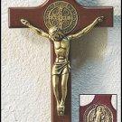 "8"" ST. SAINT BENEDICT WOOD/WOODEN  WALL MEDAL CRUCIFIX~ANTIQUE GOLD ~CATHOLIC"