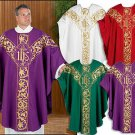FULLY EMBROIDERED IHS CHASUBLE/INNER STOLE~STITCHED FINE GOLD THREAD~VESTMENT