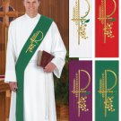 SET OF FOUR DEACON STOLES~RED,PURPLE,GREEN,WHITE~VESTMENT~CLERGY