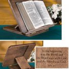 ADJUSTABLE MAPLE BIBLE/MISSAL STAND W/ ENGRAVED BIBLE VERSE~ CHURCH/CHAPEL~Latin