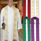 JERUSALEM CROSS CLERGY STOLE WITH TASSELS~AVAILABLE IN FOUR COLORS~