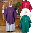 SET OF FOUR EUCHARISTIC CHI RHO CHASUBLES~RED,PURPLE,GREEN,WHITE~PASTOR~VESTMENT