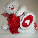"10"" WHITE TEDDY BEAR BY GUND® 41695  PLUSH TOY HEART"