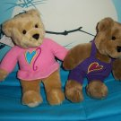 "Love & Kiss Kiss™ 2 Bears Hallmark 10"" Magnetic Noses Velcro Paws enable Bears Kiss & Hold Hands"