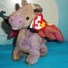 "8"" Beanie Baby Dragon Scorch by Ty ©1998 with Pink Stamp # 402 Stuffed Animal"