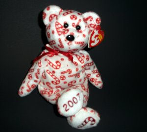 2006-2007 Stuffed Bear The Beanies Baby Collection® Candy Canes �Ty© Plush Animal