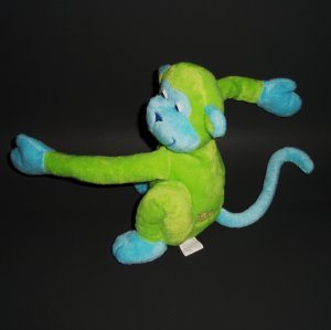 """©2001 GMA ACCES Green Turquoise Monkey Friends Plush Toy Animal 7"""" Seated Position"""