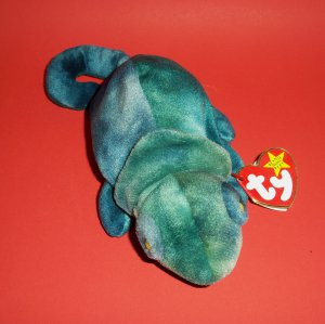 "1997 7""  Plush Stuffed Chameleon The Beanie Babies Collection® Rainbow�Haven't red color"