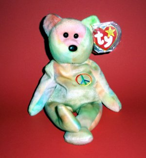 "1996 Peace The Beanie Babies Collection®  w/star w/seal pink #102 8.5"" from Ty Stuffed Toy"