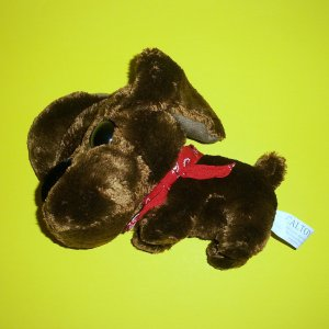 """Plush Puppy Brown Dog Big Head Eyes Red Bandana 7"""" Made to Love Made to Last Caltoy®"""