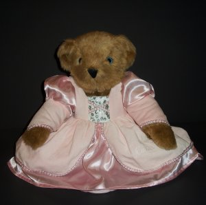 Authentic Teddy Bear Vermont Girl Pink Dress Blue Eyes 15""