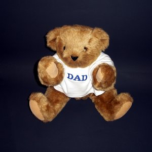 """Authentic Vermont Teddy Bear® DAD 15"""" Logo Eyes Plush Collectible"""