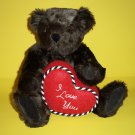 "Authentic Vermont Teddy Bear® I Love You Dark Brown 15"" Tall Logo Eyes Plush Animal Collectible"